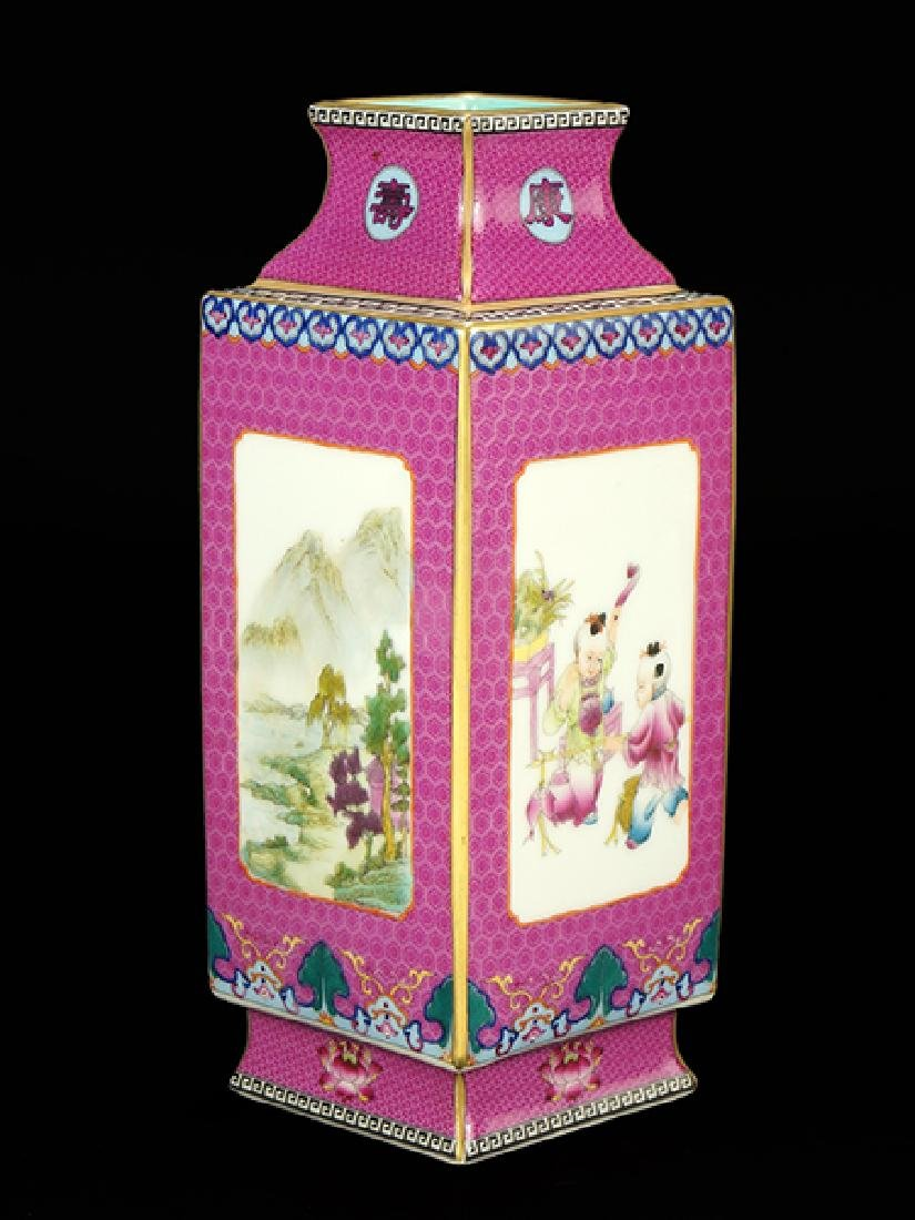 A Chinese Famille Rose Porcelain Cong Vase.