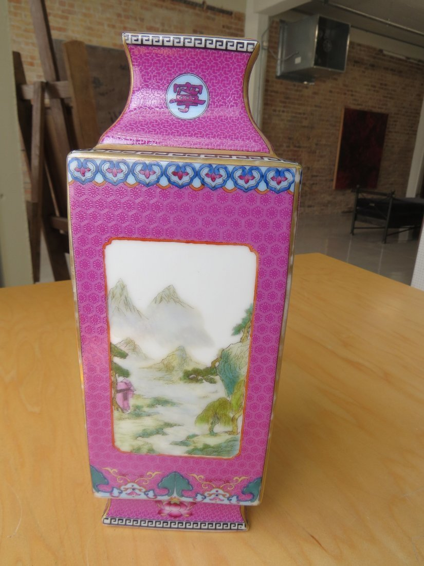 A Chinese Famille Rose Porcelain Cong Vase. - 2