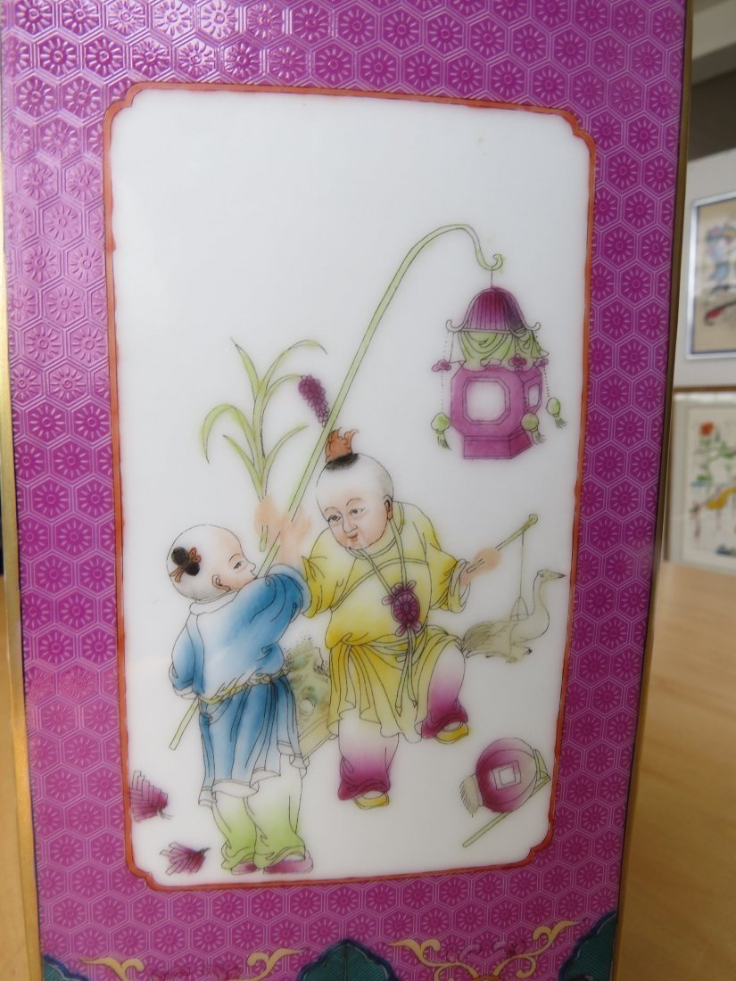 A Chinese Famille Rose Porcelain Cong Vase. - 4
