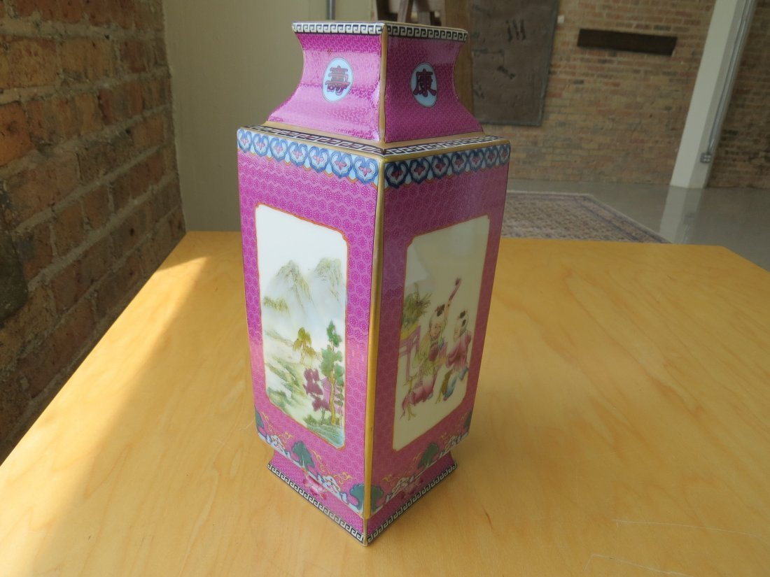 A Chinese Famille Rose Porcelain Cong Vase. - 5