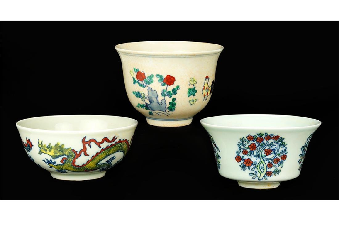 Three Chinese Doucai Glazed Porcelain Cups.