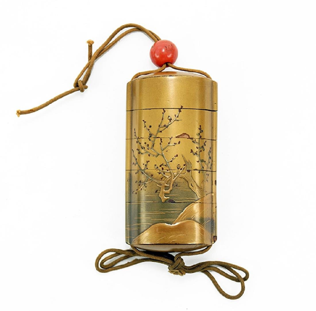 A 19th Century Japanese Gilt Lacquered Inro.