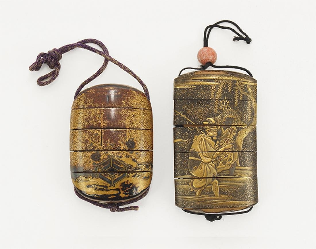 An 18th Century Japanese Gilt and Black Lacquered Inro