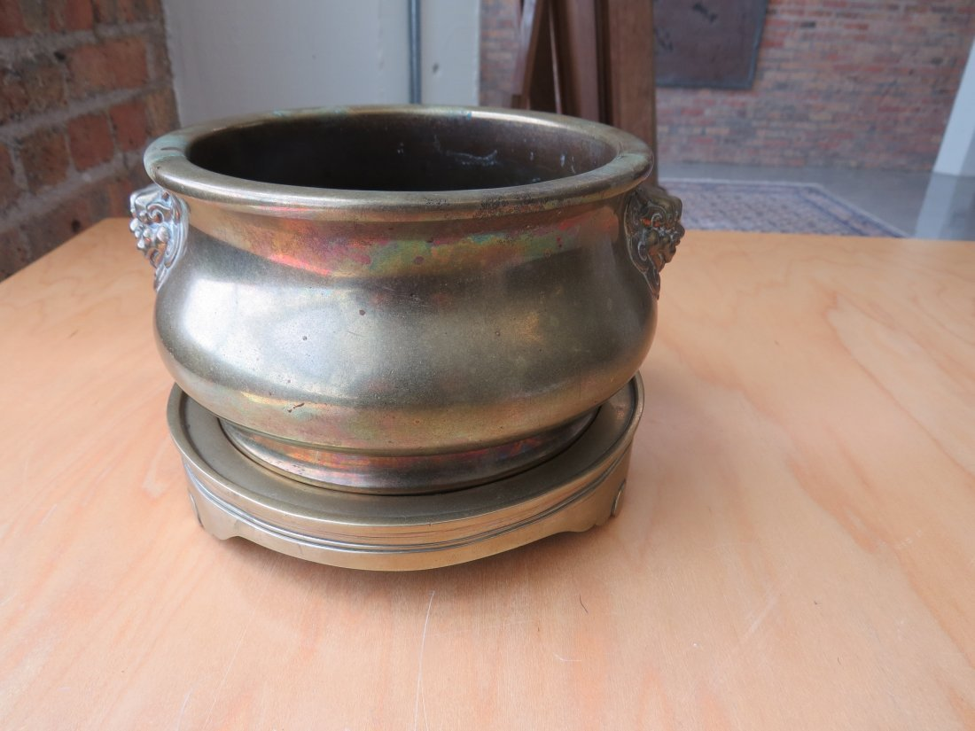 A Chinese Brass Censer and Stand. - 2