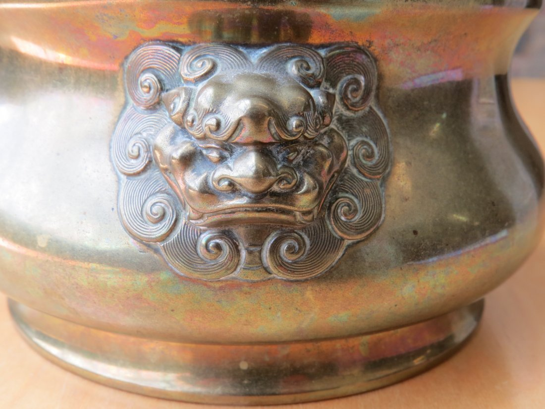 A Chinese Brass Censer and Stand. - 5