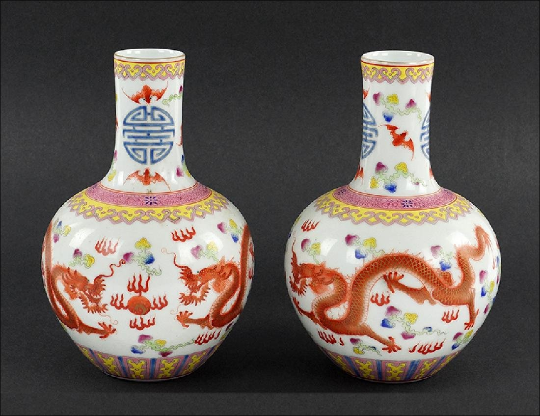 A Pair of Chinese Enameled  Porcelain Bottle Vases.