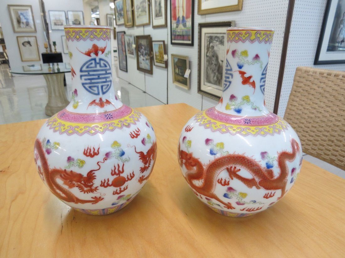 A Pair of Chinese Enameled  Porcelain Bottle Vases. - 2