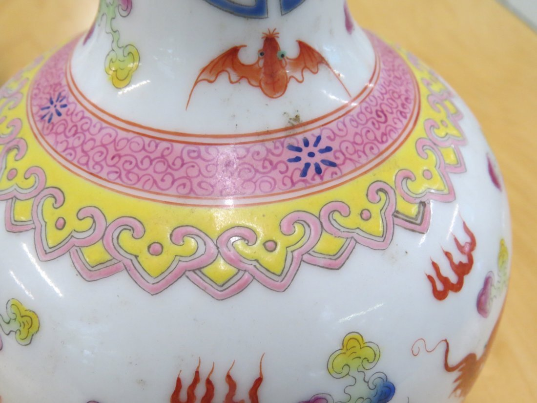 A Pair of Chinese Enameled  Porcelain Bottle Vases. - 8
