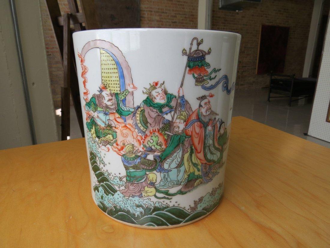 A Chinese Famille Verte Porcelain Brush Pot. - 2