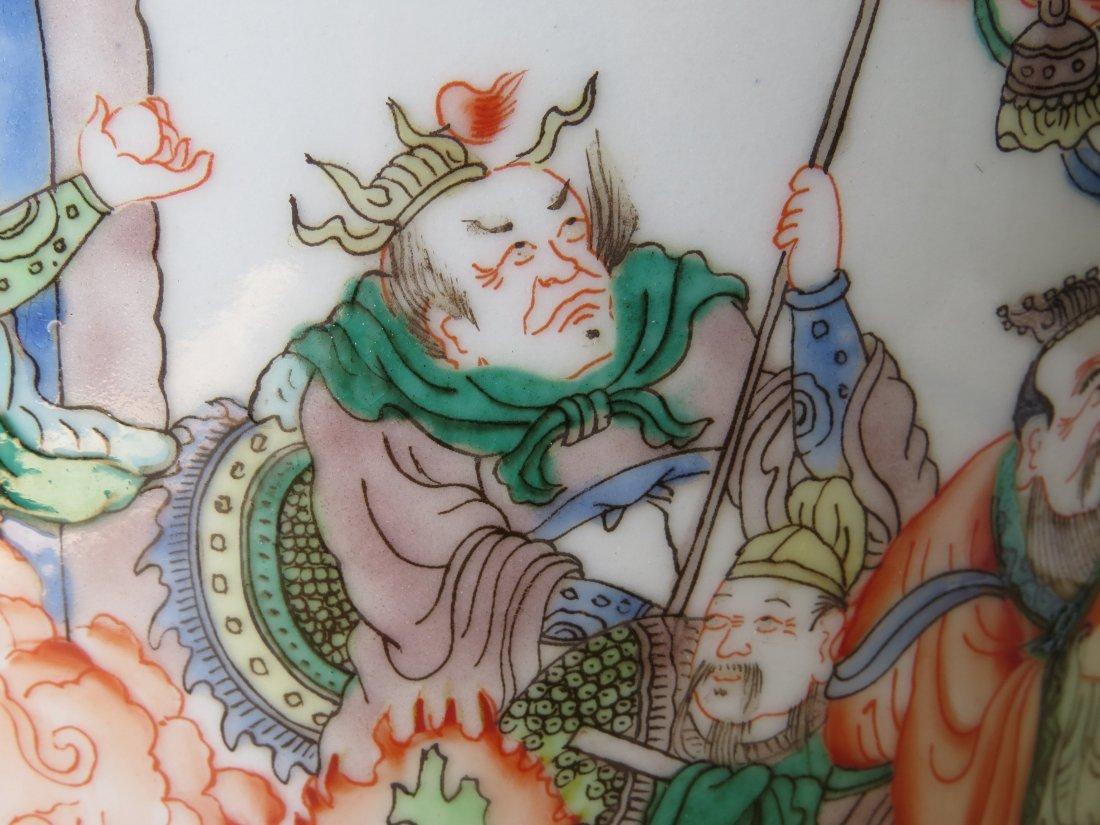 A Chinese Famille Verte Porcelain Brush Pot. - 3