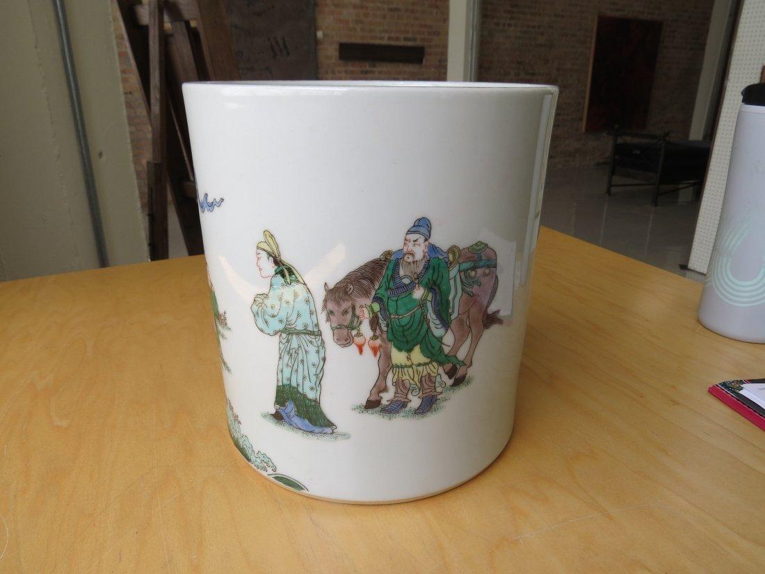 A Chinese Famille Verte Porcelain Brush Pot. - 5