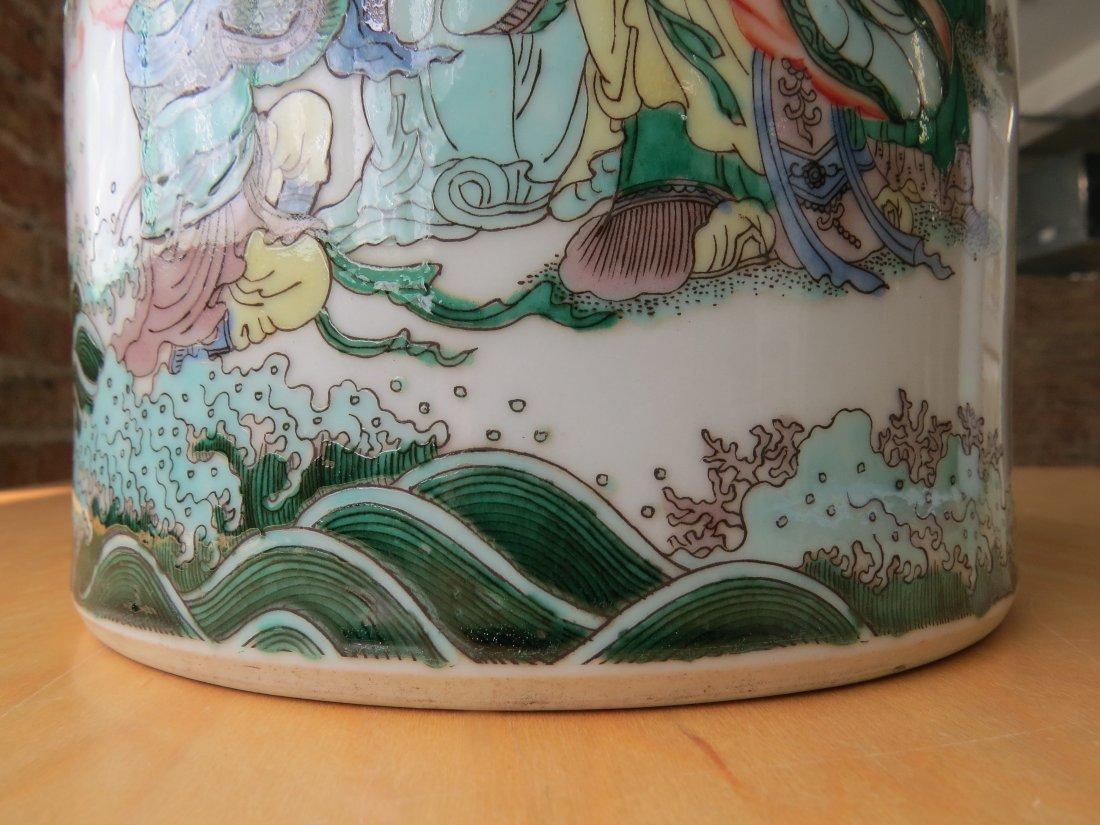 A Chinese Famille Verte Porcelain Brush Pot. - 8