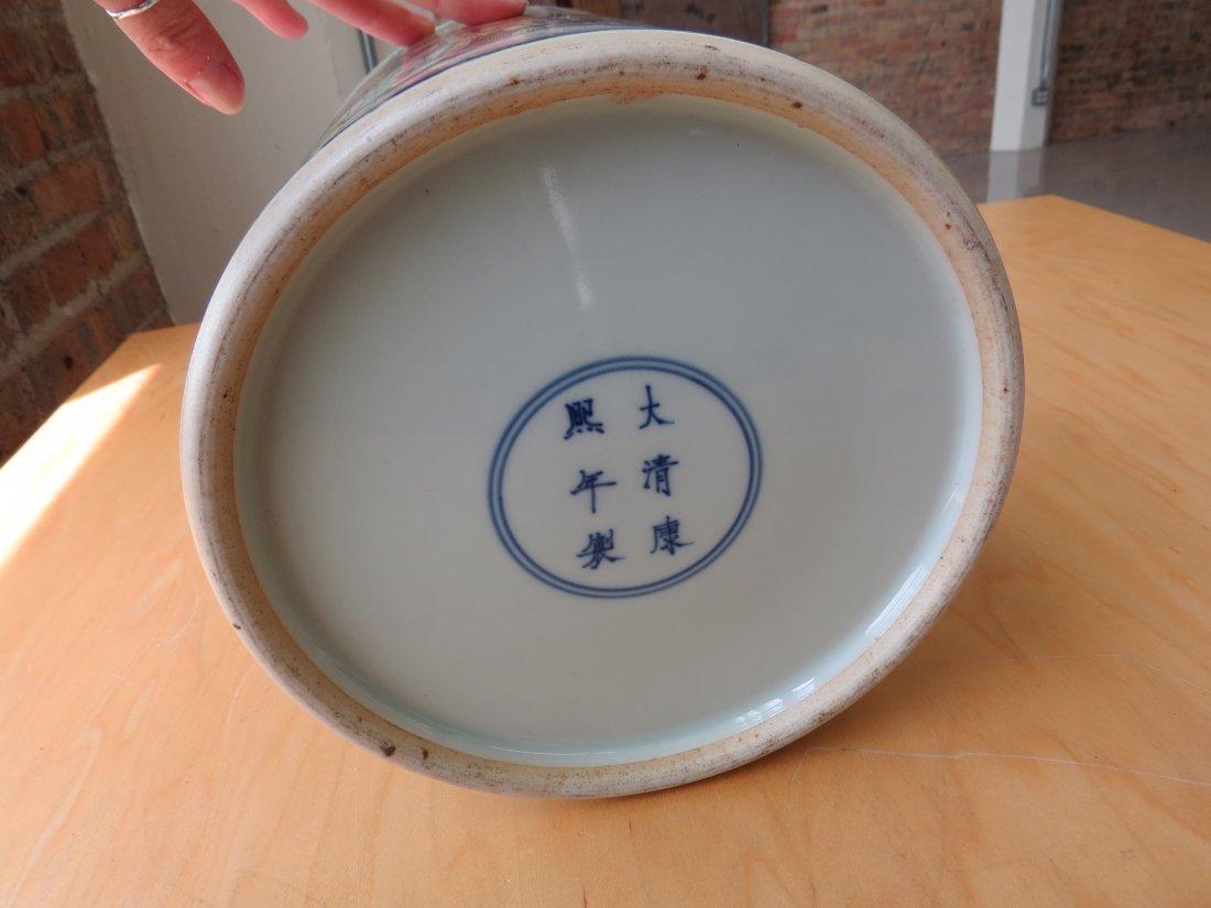 A Chinese Famille Verte Porcelain Brush Pot. - 9