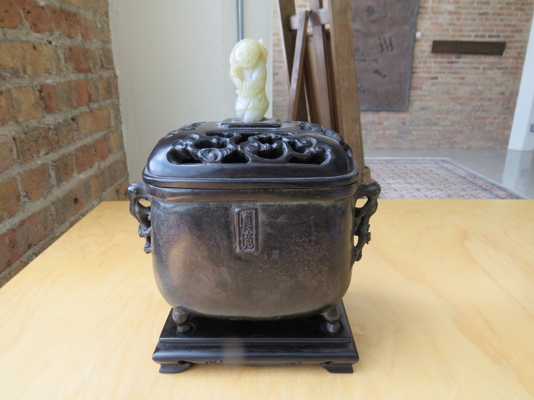 A Chinese Patinated Bronze Footed Censer. - 2