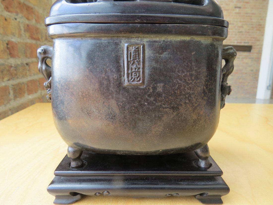 A Chinese Patinated Bronze Footed Censer. - 4