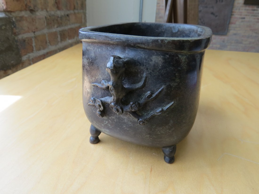A Chinese Patinated Bronze Footed Censer. - 7