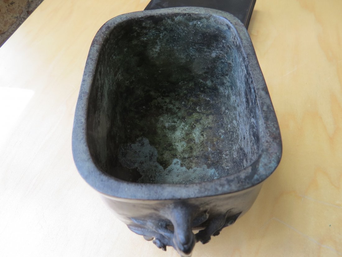 A Chinese Patinated Bronze Footed Censer. - 8