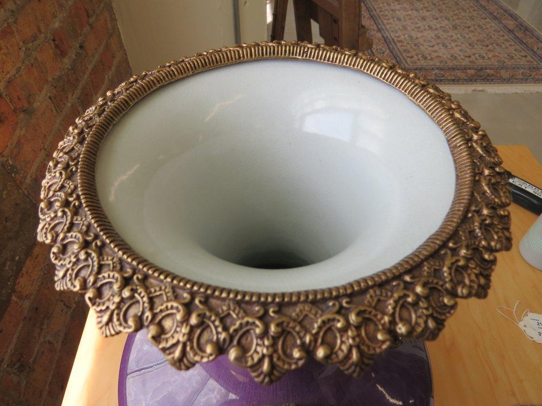 A Chinese Ormolu Mounted Flambe Glazed Vase. - 5