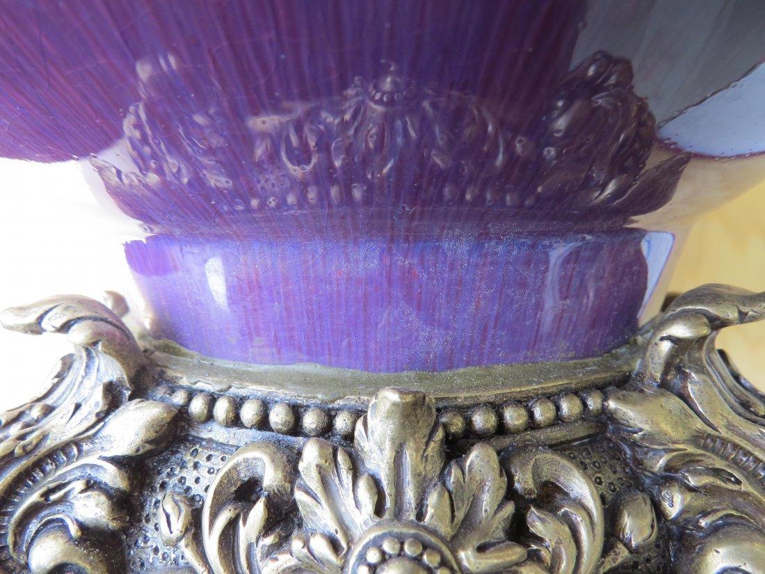 A Chinese Ormolu Mounted Flambe Glazed Vase. - 9