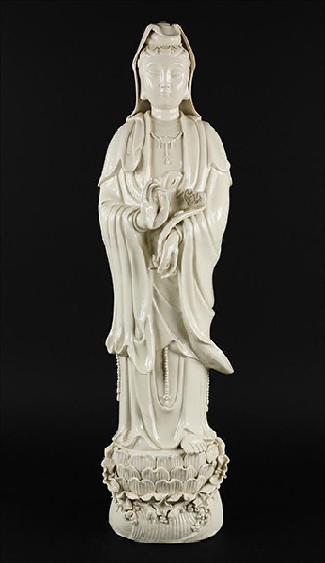 A Chinese Blanc de Chine Porcelain Guan Yin Figure.