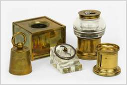 A Collection of Brass Desk Accessories