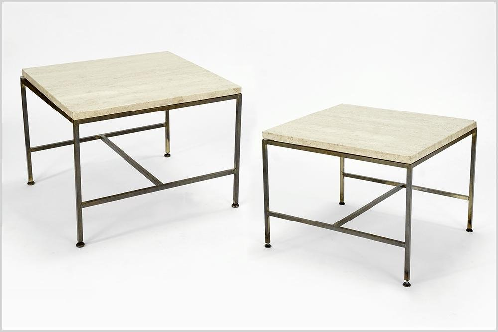 A Pair Of Paul McCobb Travertine Tables.
