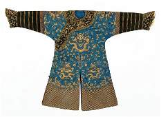 A Chinese Embroidered Silk Dragon Robe