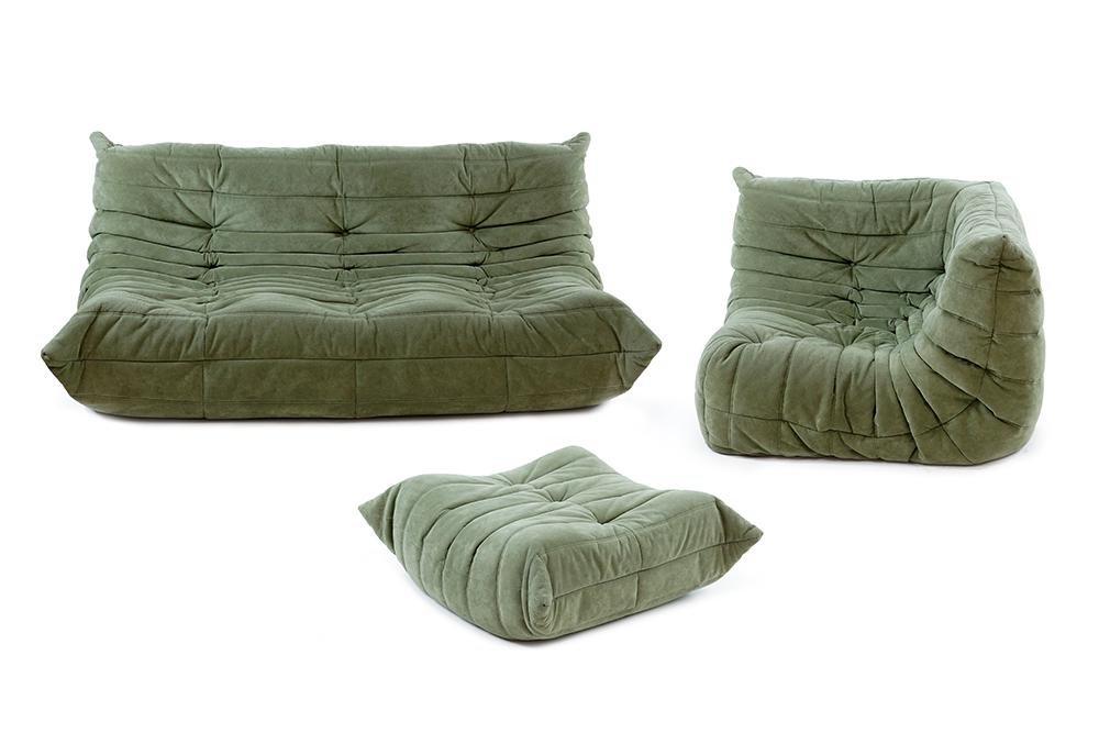 A Ligne Roset Togo Three-Piece Sectional Sofa.