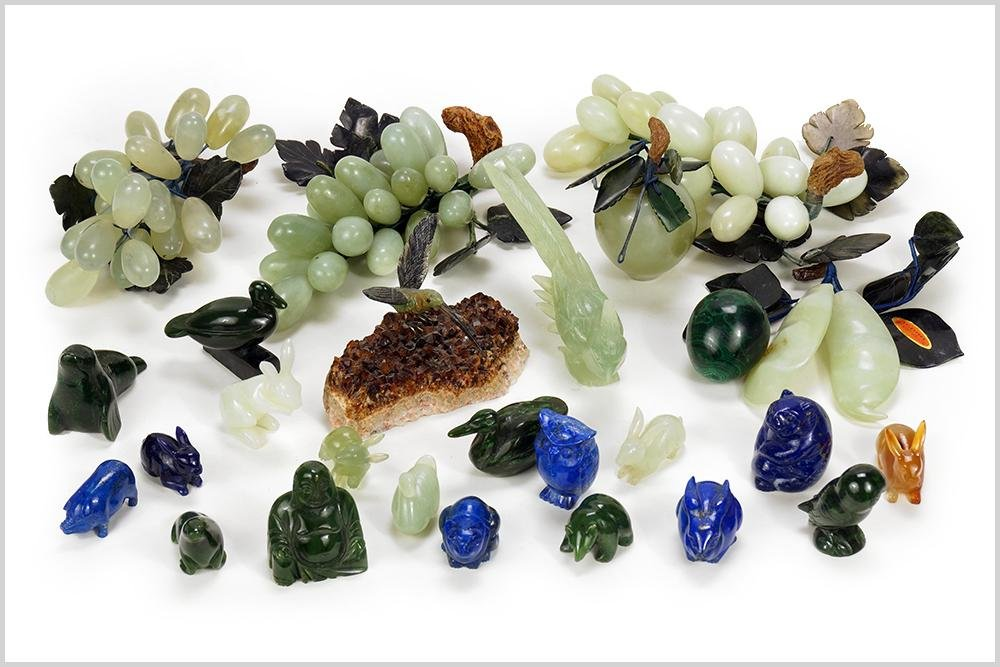 A Collection of Semi-Precious Stone Decorative Items.