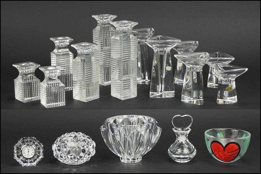 A Collection of Val St. Lambert Crystal Candlesticks.