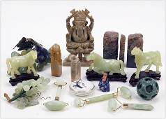 A Collection of Asian Carved Stone Items.