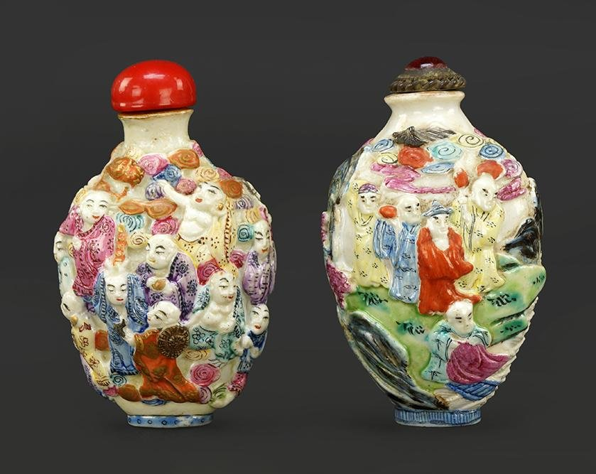 Two Chinese Famille Rose Porcelain Relief Snuff