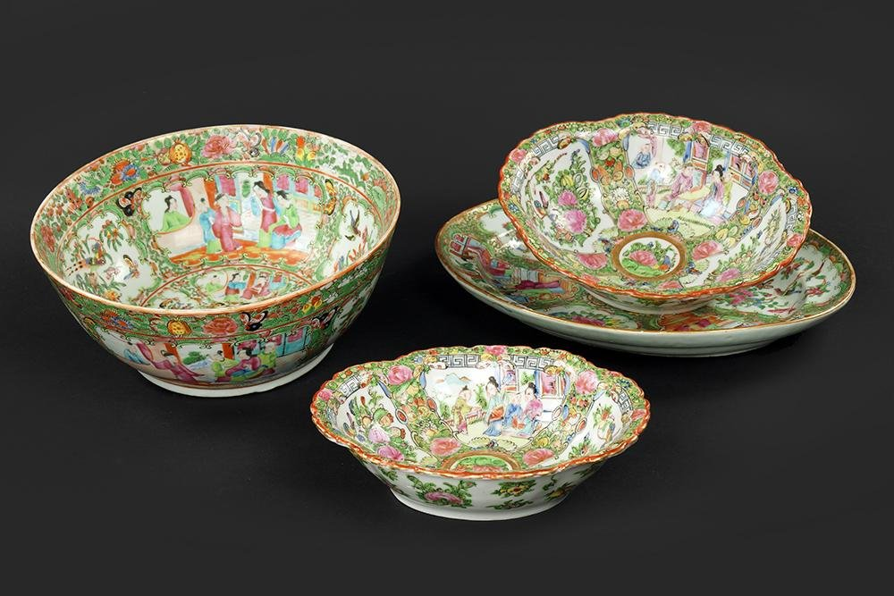A Collection of Chinese Rose Medallion Serving Dishes.