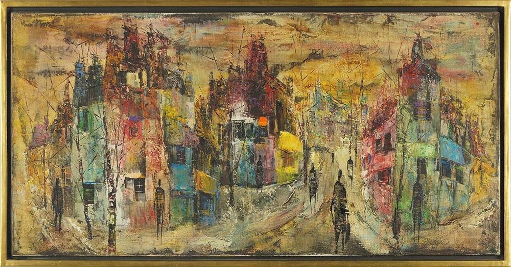 Maurille Prevost (French, B. 1922) Scene de Rue.