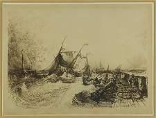Seymour Haden (British, 1818-1910) Calais Pier.