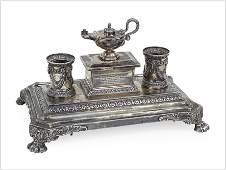 A Victorian English Silver Standish.