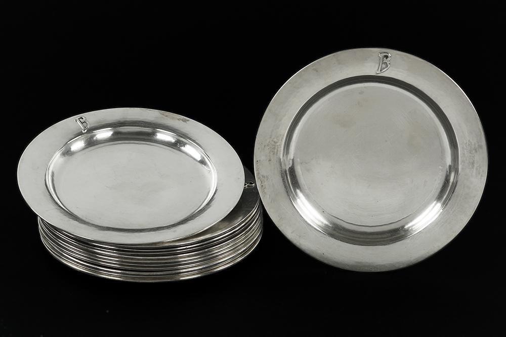 A Set of Twelve Kalo Sterling Silver Plates.