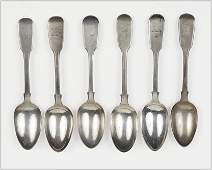 A Collection of Five English Victorian Silver Spoons.