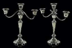 A Pair of Gorham Sterling Silver Candelabra.