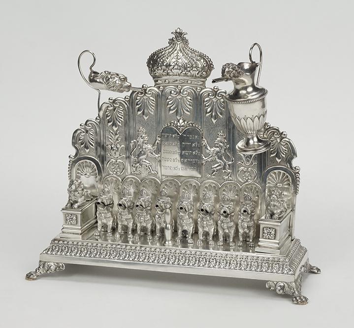 A German Hanau .800 Silver Menorah.