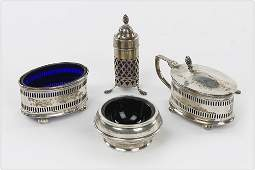 A Group Of English Silver Salt Cellars.