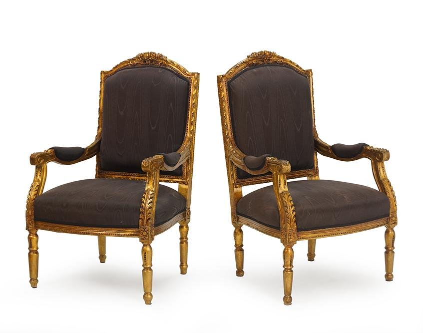 A Pair of Louis XV Style Armchairs.