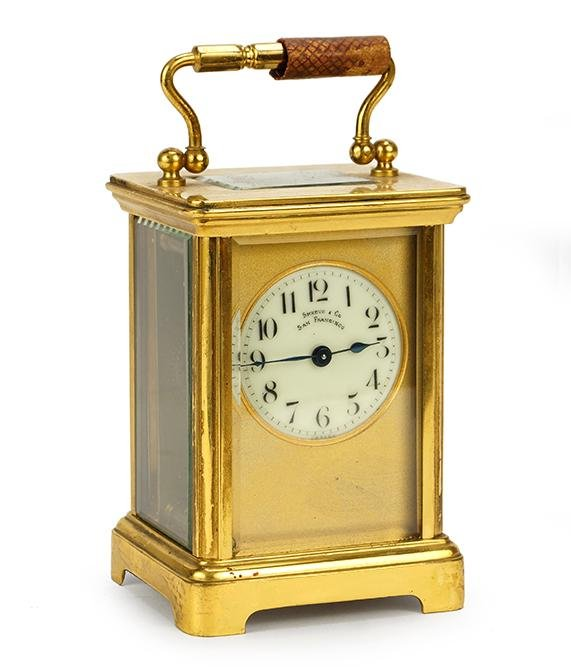 French Shreve and Co Brass Carriage Clock.