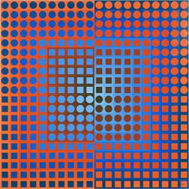 Victor Vasarely (Hungarian, 1906-1997) Zoeld Red /
