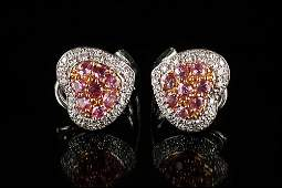 A Pair of House of Taylor Pink Sapphire and Diamond