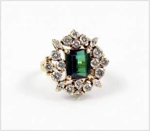 A Tourmaline & Diamond Ring.