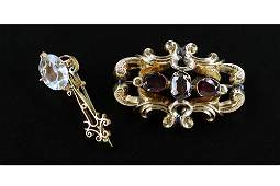 An English Glass and 9 Karat Yellow Gold Brooch