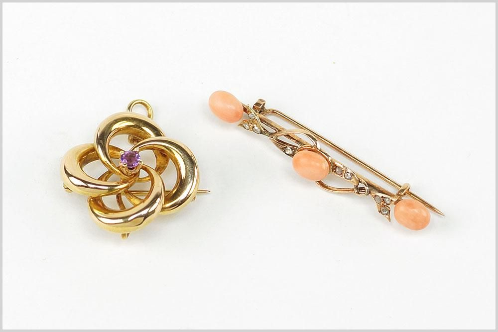 A Victorian Coral & Diamond Bar Brooch.