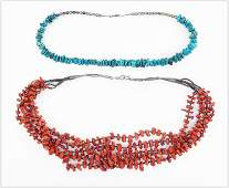 A Coral and Shell Bead Five-Strand Necklace.