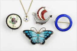 A Collection of Nordic Sterling Silver and Enamel